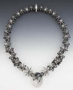 Concatenation d'etoiles Necklace by Valerie Jo Coulson. Sterling Silver, Tourmalinated Quartz