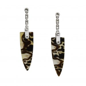 'Regeneration' Earrings #1 by Valerie Jo Coulson. Sterling Silver, 14 Gold (Posts), Piranha Agate